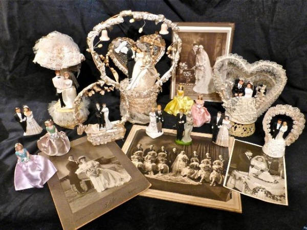 Vintage wedding cake toppers photos on display at Brentwood Library