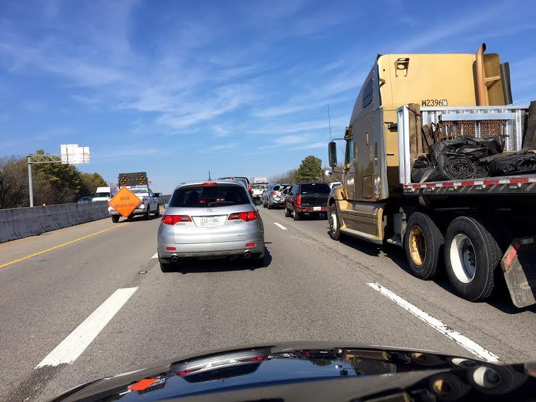 Road resurfacing causes traffic delays on I-65