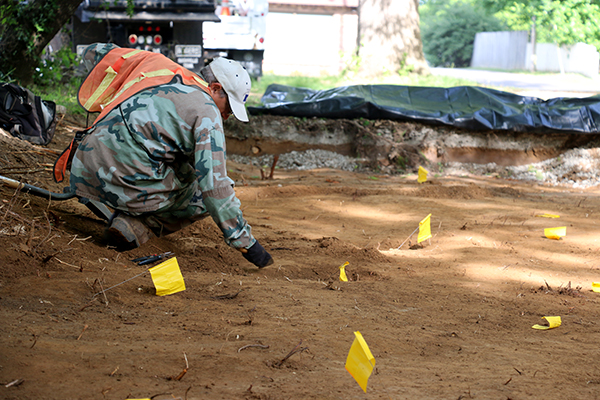 Carter Cotton Gin foundation unearthed during excavation