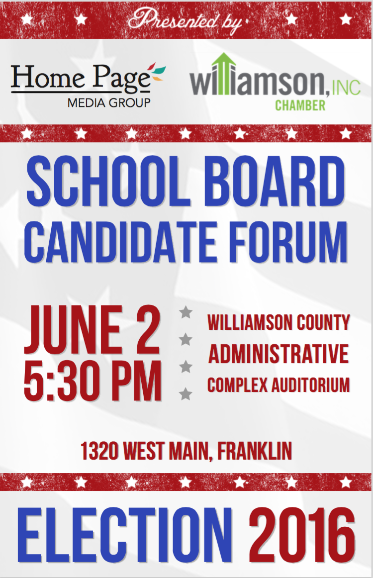 Williamson, Inc., Home Page to host school board candidate forum