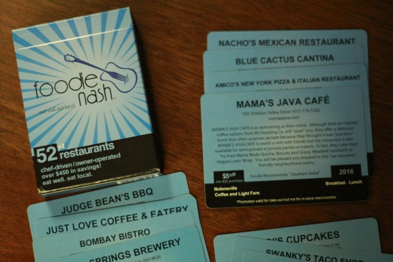 Foodie Nash card deck gives local restaurant discounts, charity donations